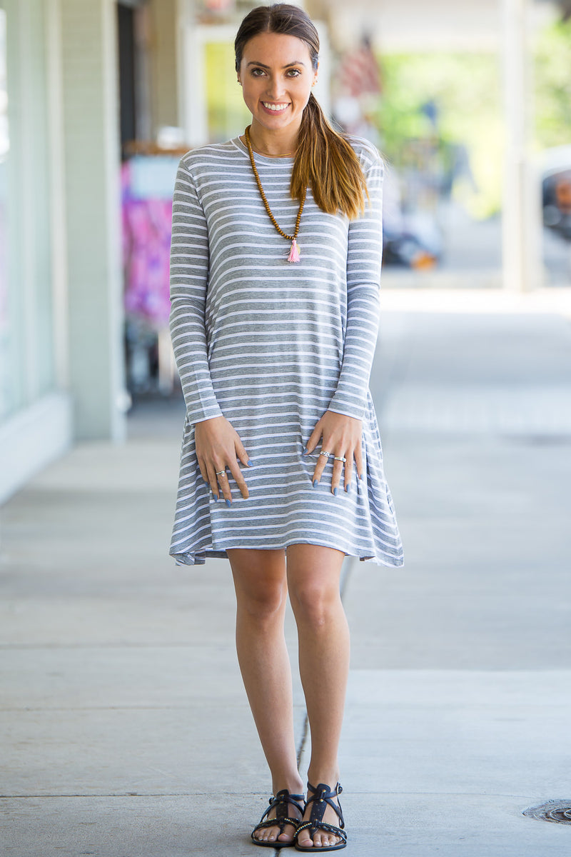 The Perfect Piko Long Sleeve Tiny Stripe Swing Dress-Heather/White