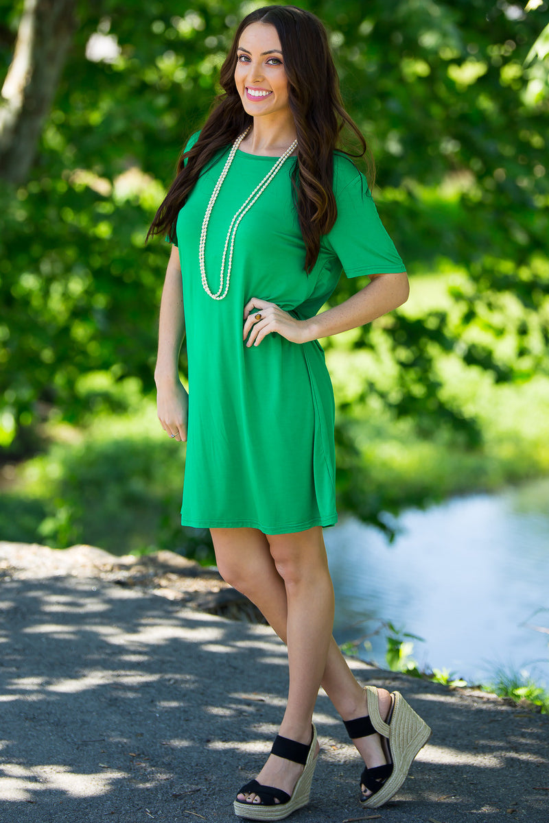 The Perfect Piko Short Sleeve Dress-Kelly Green