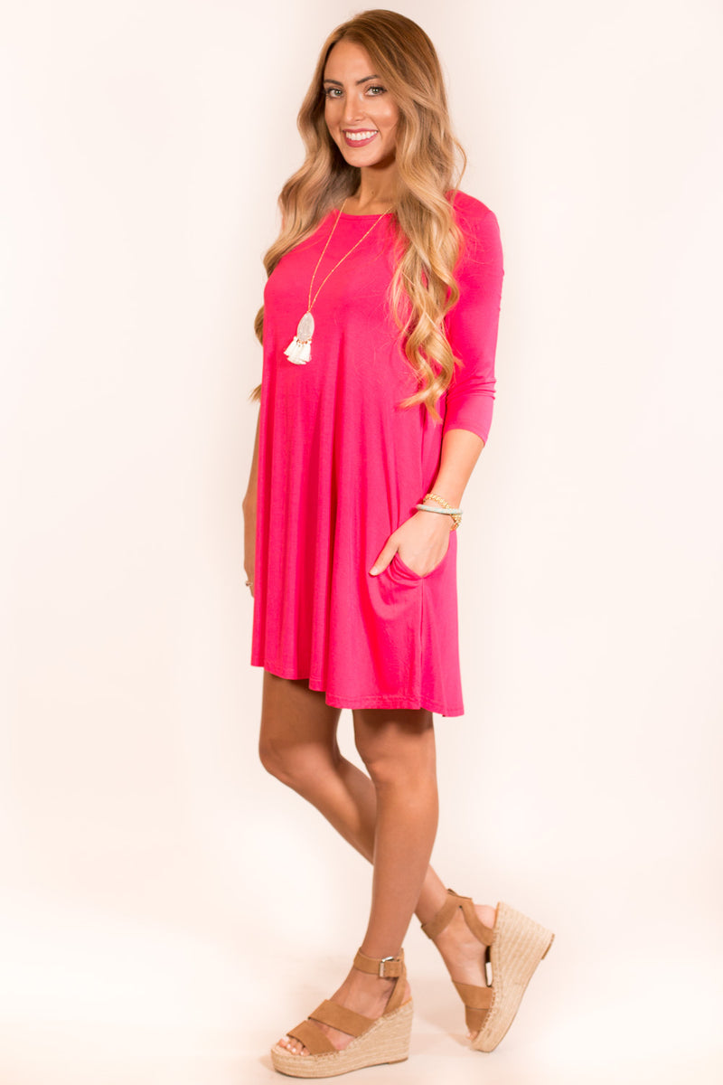 31e748e968 The Perfect Piko 3 4 Sleeve Swing Dress-Fuchsia ...
