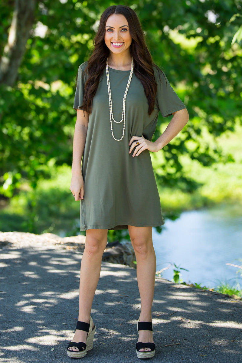 The Perfect Piko Short Sleeve Dress-Army