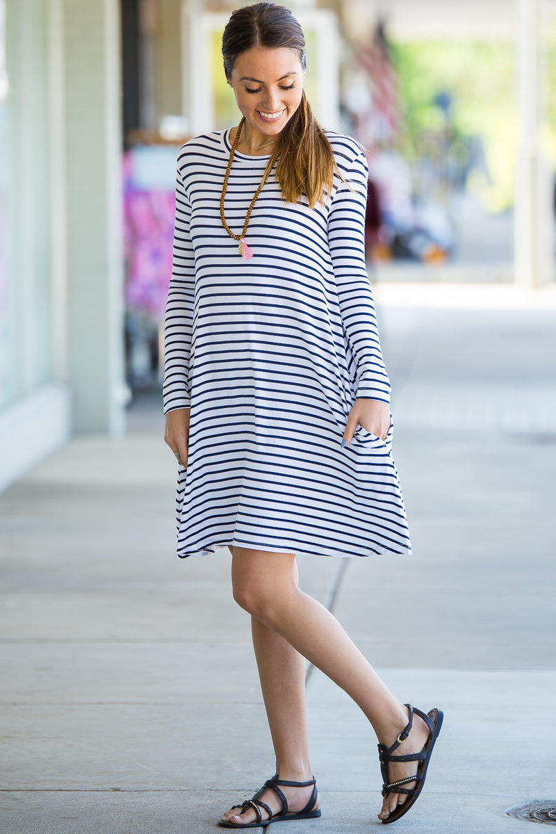 The Perfect Piko Long Sleeve Tiny Stripe Swing Dress-White/Navy