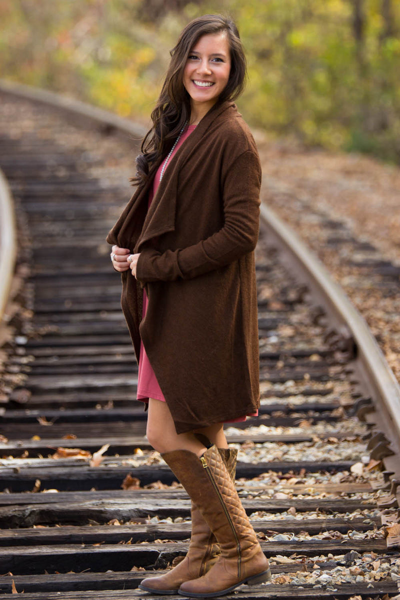 Piko-Knitted Open Cardigan-Dark Brown
