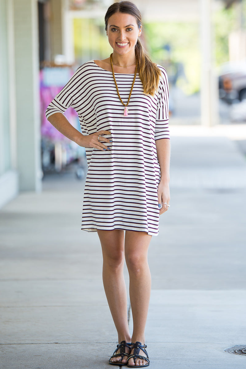 The Perfect Piko Half Sleeve Tunic-White/Burgundy