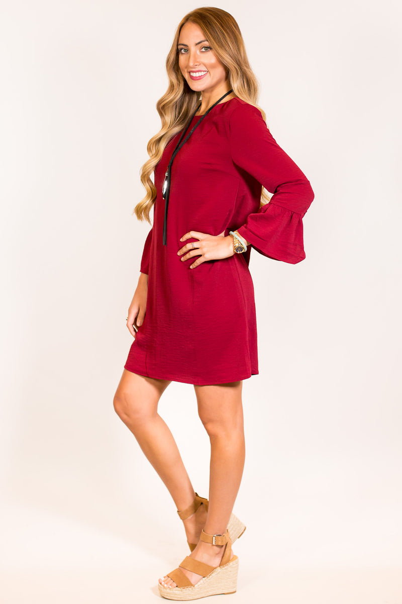 SALE-Everly-To Be Told Shift Dress-Burgundy
