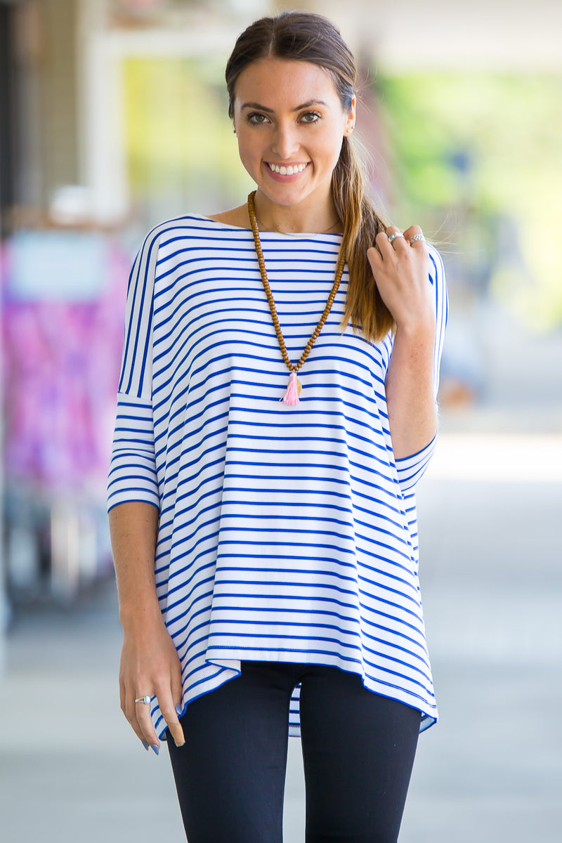 The Perfect Piko 3/4 Sleeve Tiny Stripe Top-White/Royal