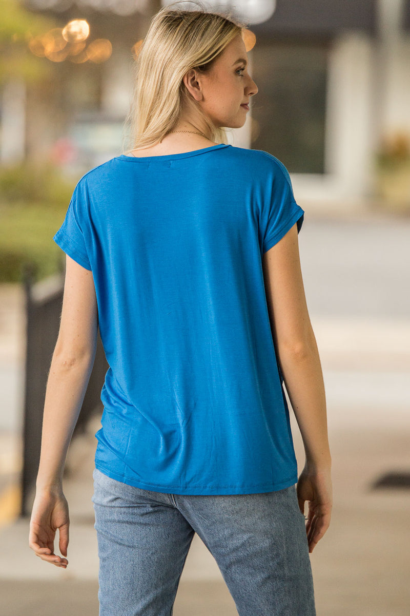 The Perfect Piko Rolled Short Sleeve V-Neck Top-Snorkel Blue