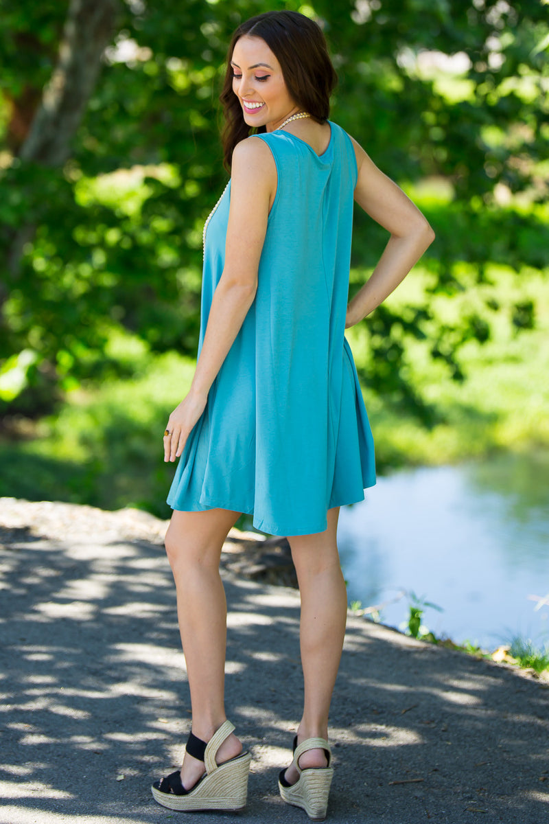 The Perfect Piko Sleeveless Swing Dress-Dazzling Blue
