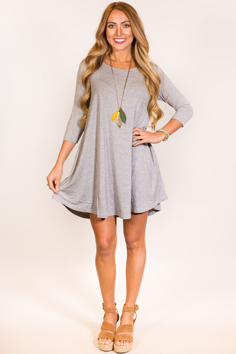 The Perfect Piko 3/4 Sleeve Swing Dress-Heather