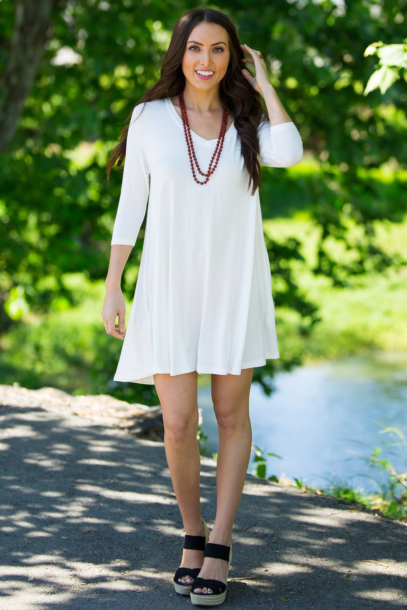 The Perfect Piko 3/4 Sleeve V-Neck Swing Dress-Off White