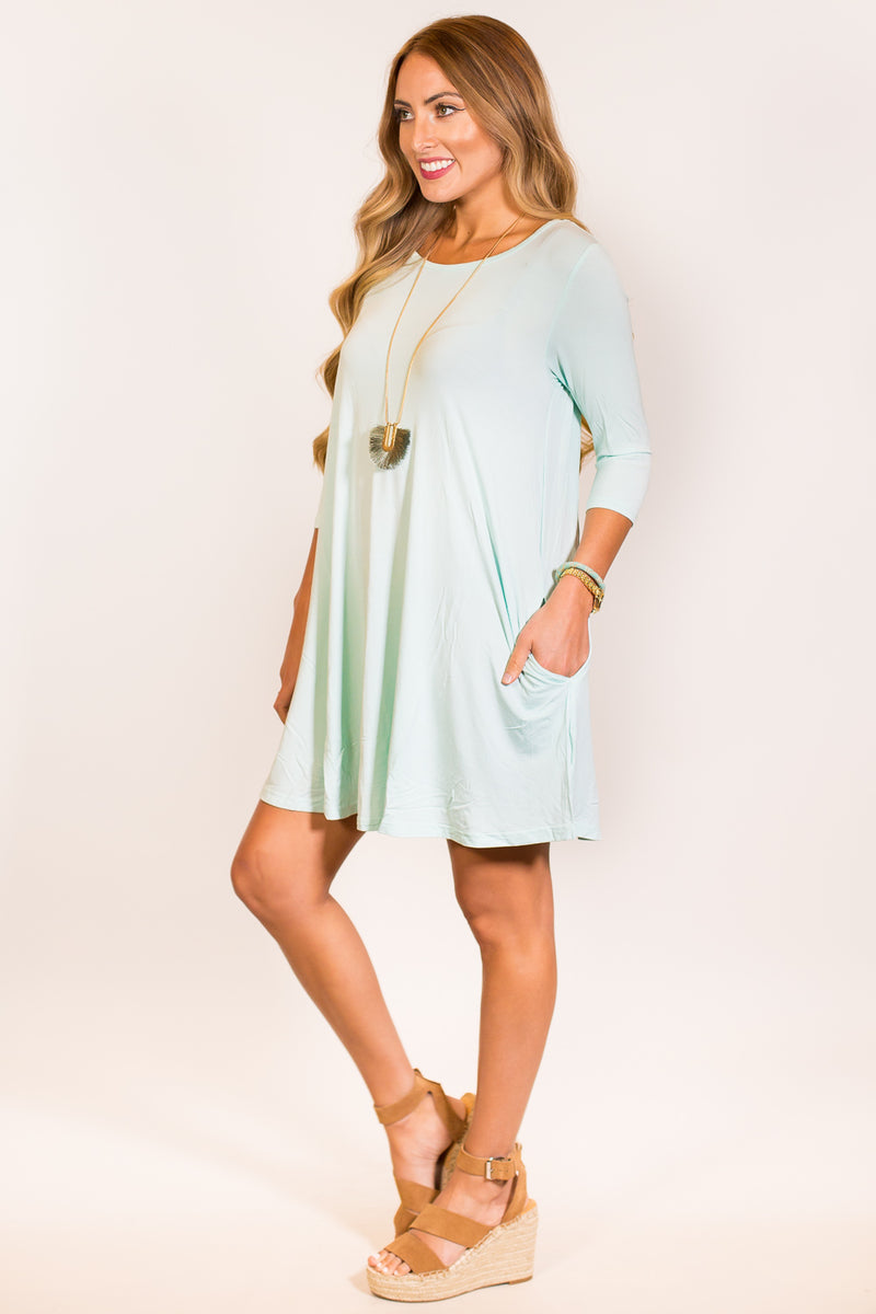 The Perfect Piko 3/4 Sleeve Swing Dress-Mint