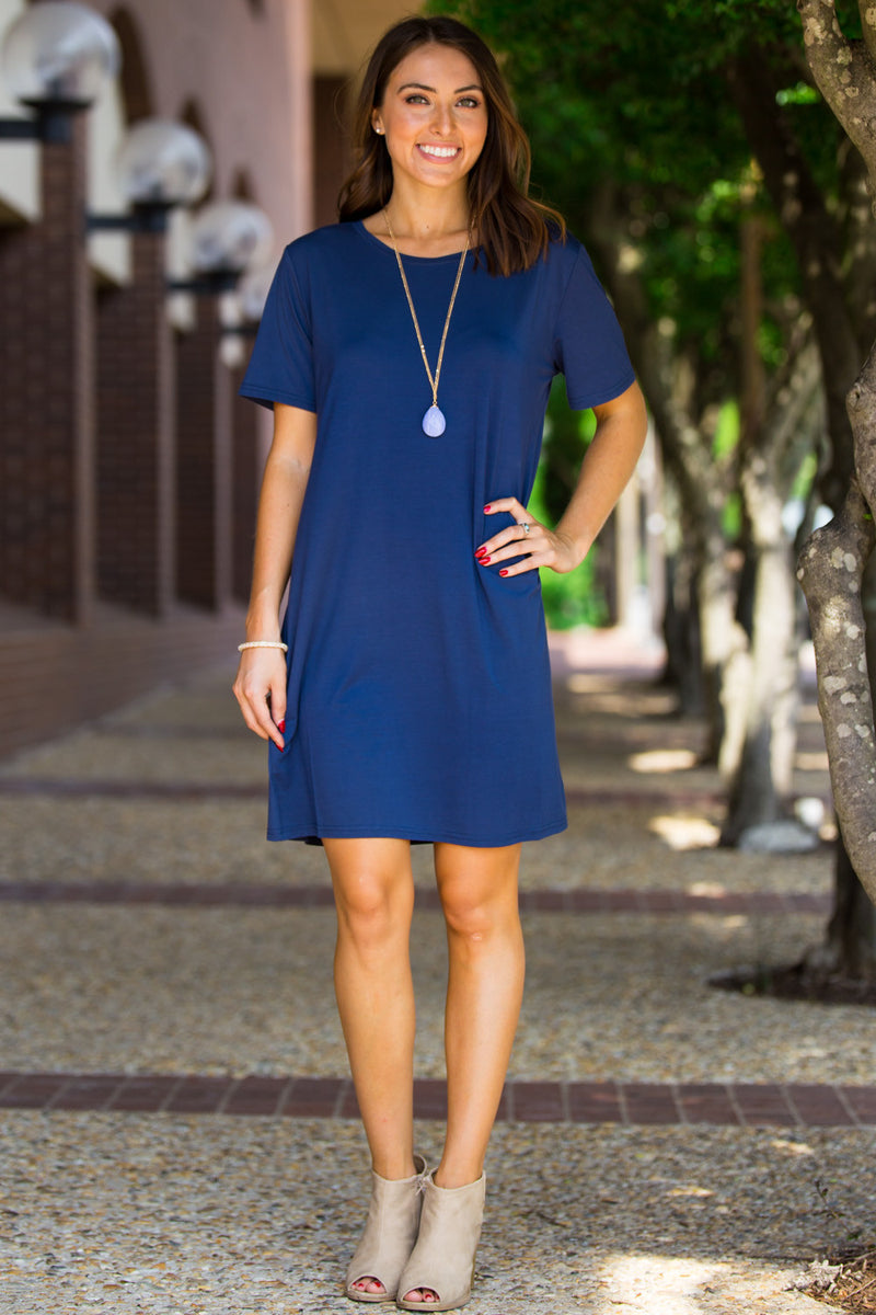 The Perfect Piko Short Sleeve Dress-Navy