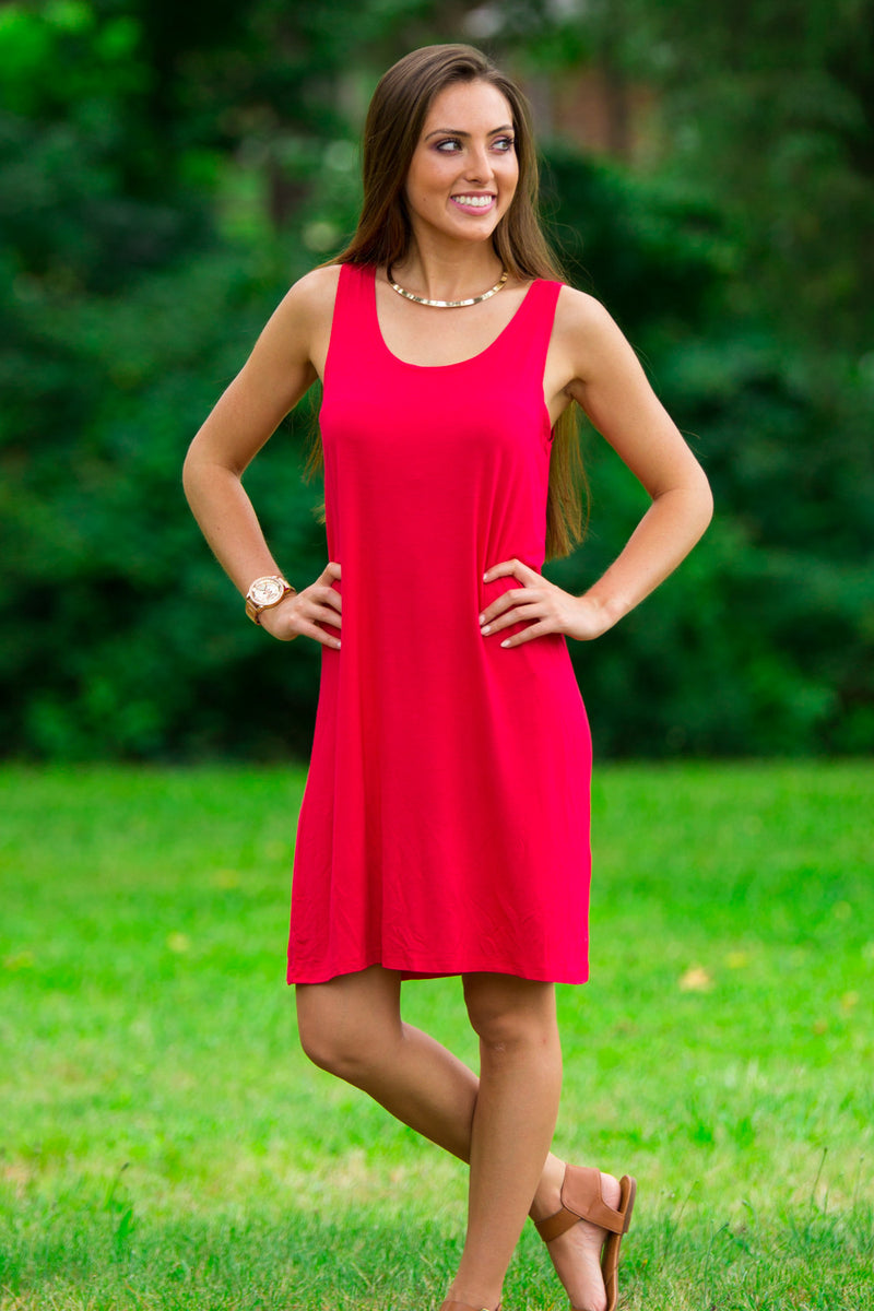 The Perfect Piko Tank Dress-American Red