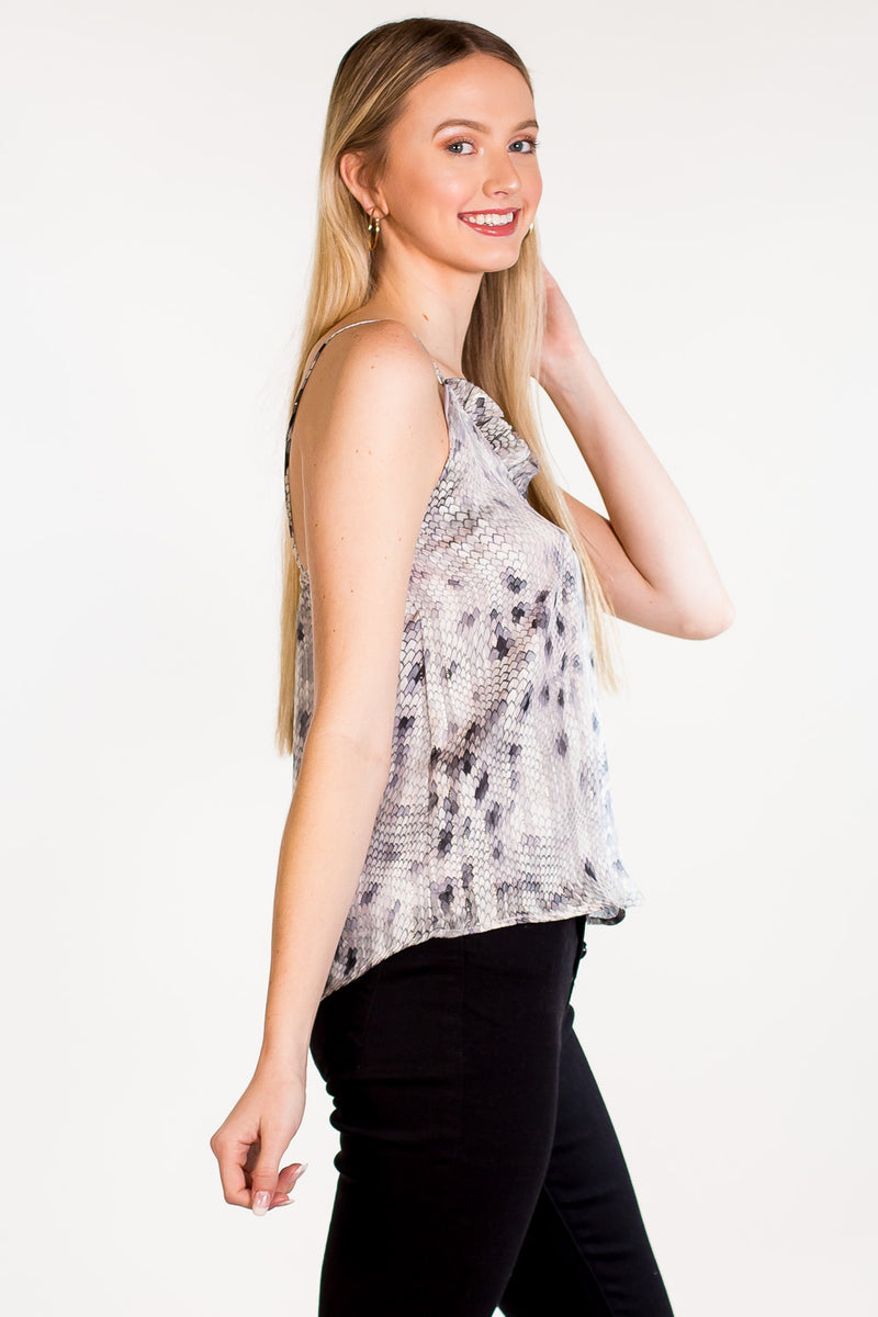 Snake In My Boot Top - Grey/Black/Blush