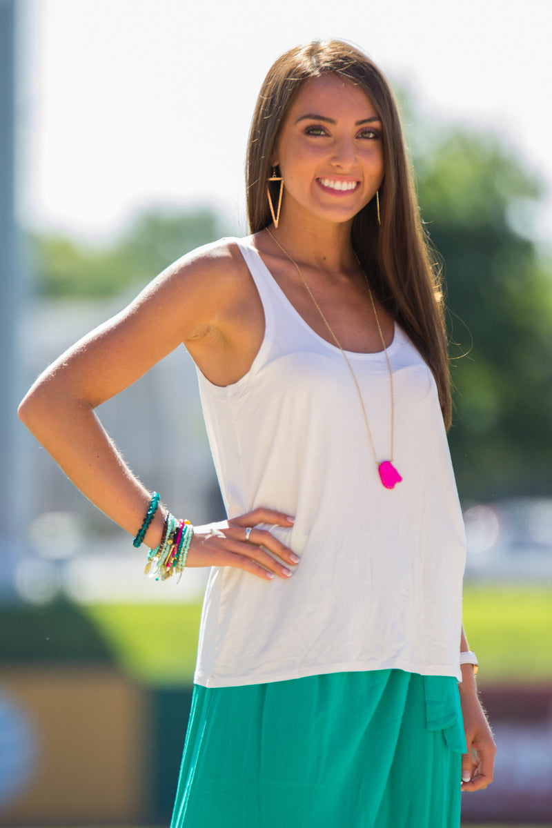 The Perfect Piko Tank Top-Off White