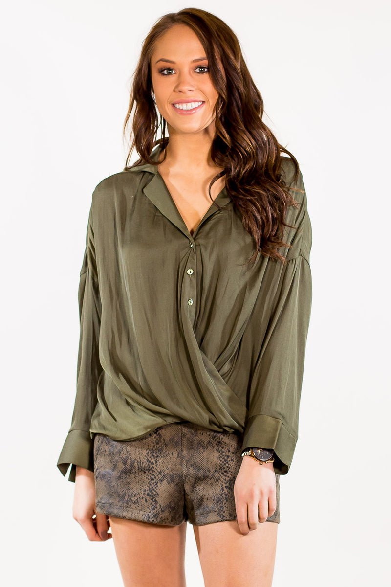 SALE-Not Your Typical Button Down - Olive