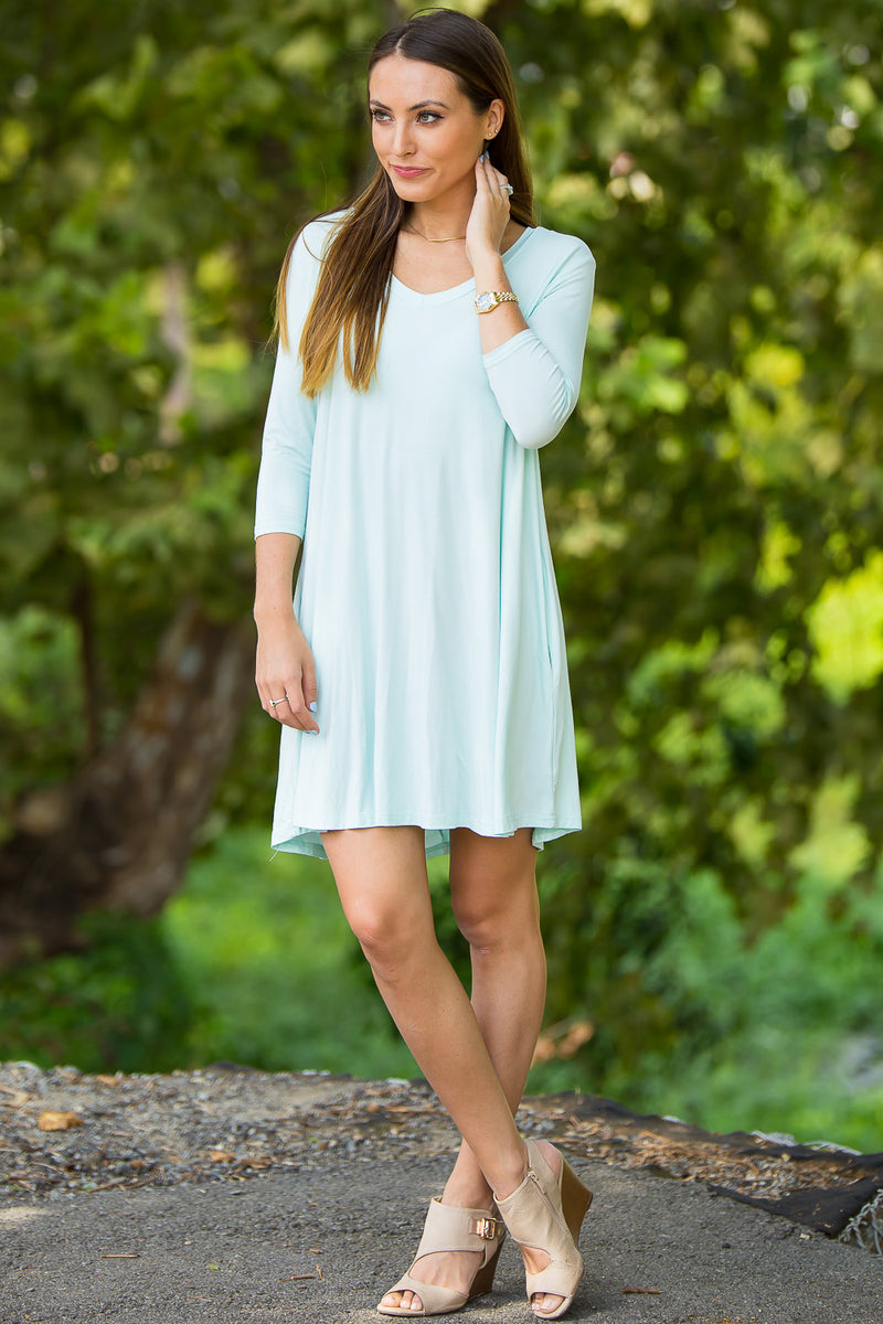 The Perfect Piko 3/4 Sleeve V-Neck Swing Dress-Mint