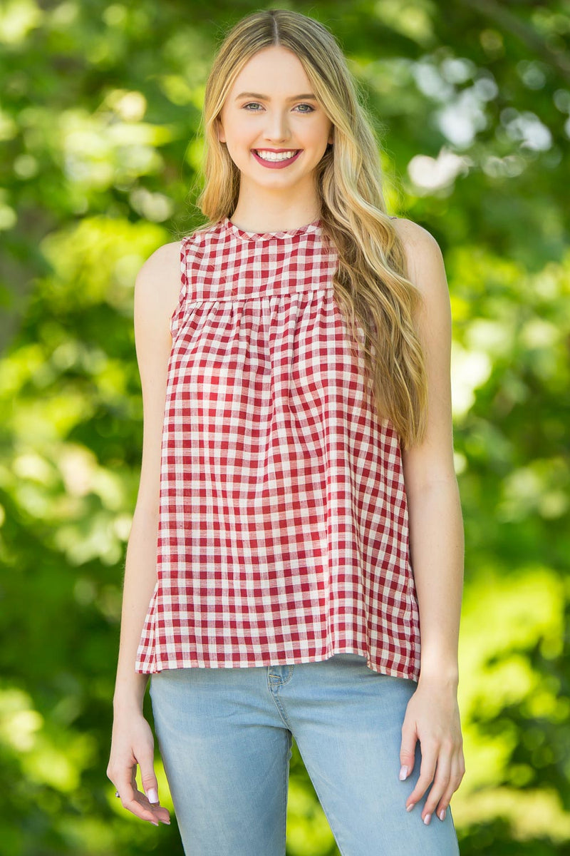 Gingham Galore Top-Cherry