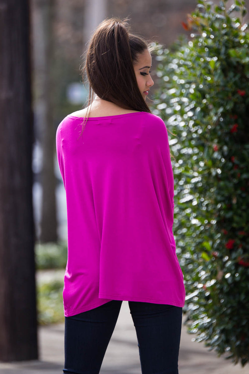The Perfect Piko 3/4 Sleeve Top-Orchid