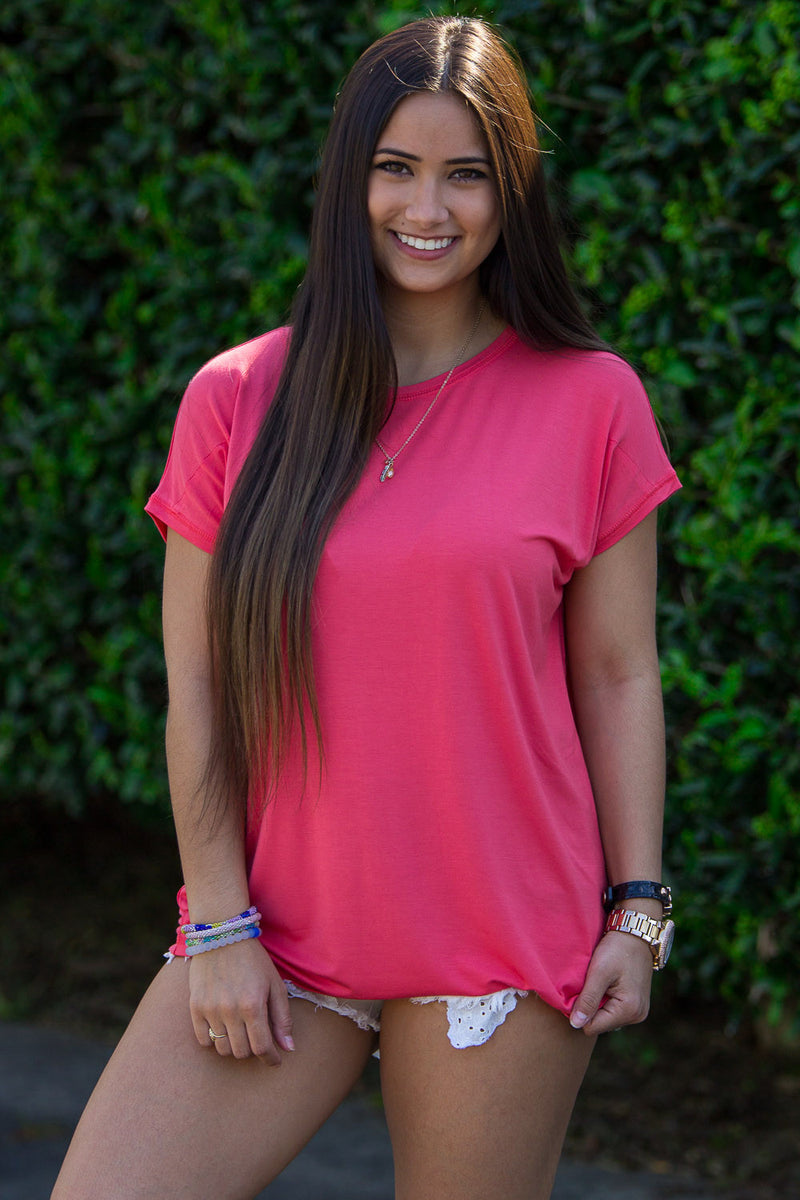 The Perfect Piko Rolled Short Sleeve Top-Coral
