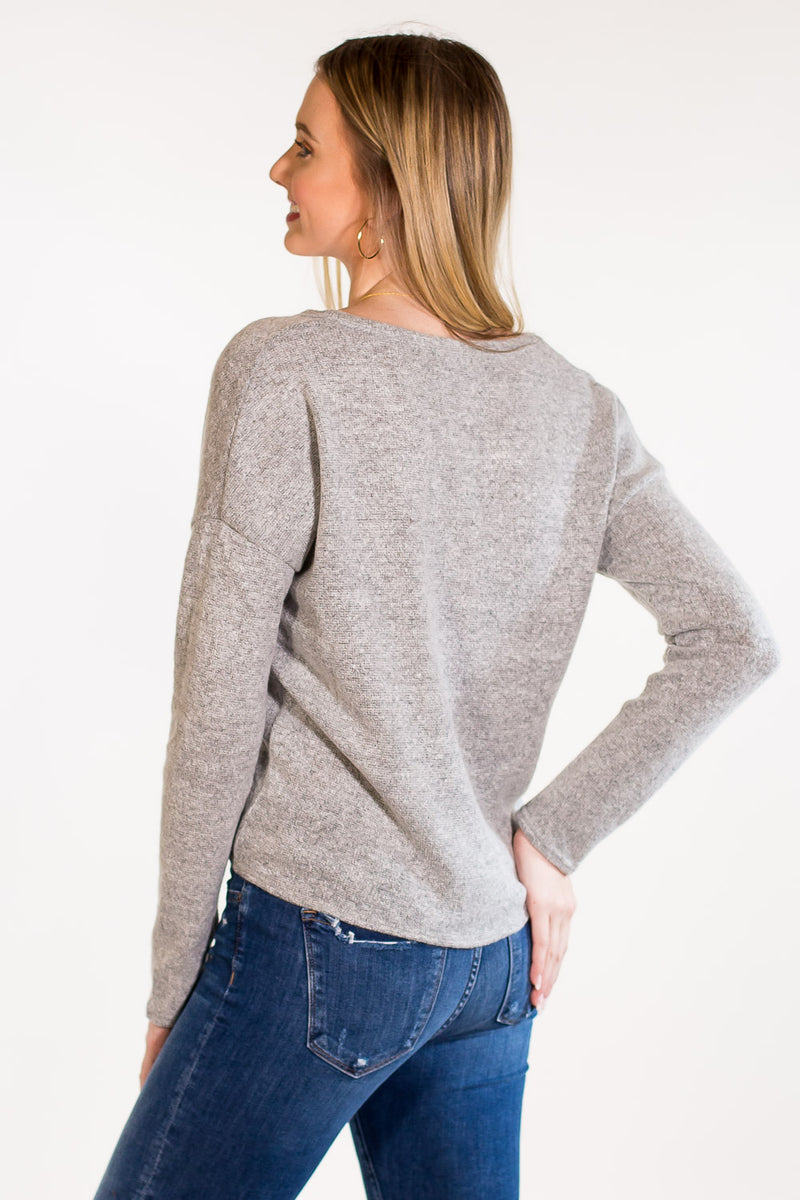 The Perfect Piko Tie Front Mohair Sweater Top-Light Grey