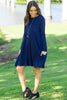 The Perfect Piko Long Sleeve Swing Dress-Navy
