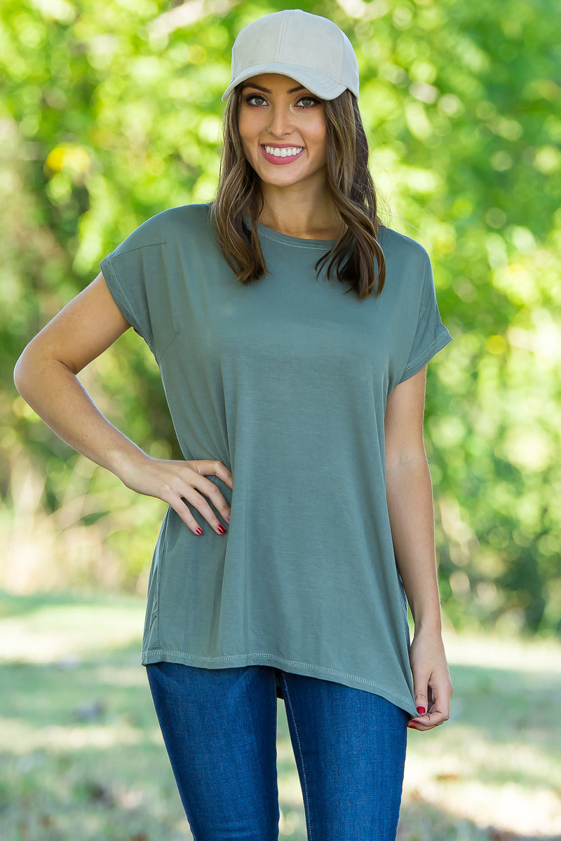 The Perfect Piko Rolled Short Sleeve Top-Olive