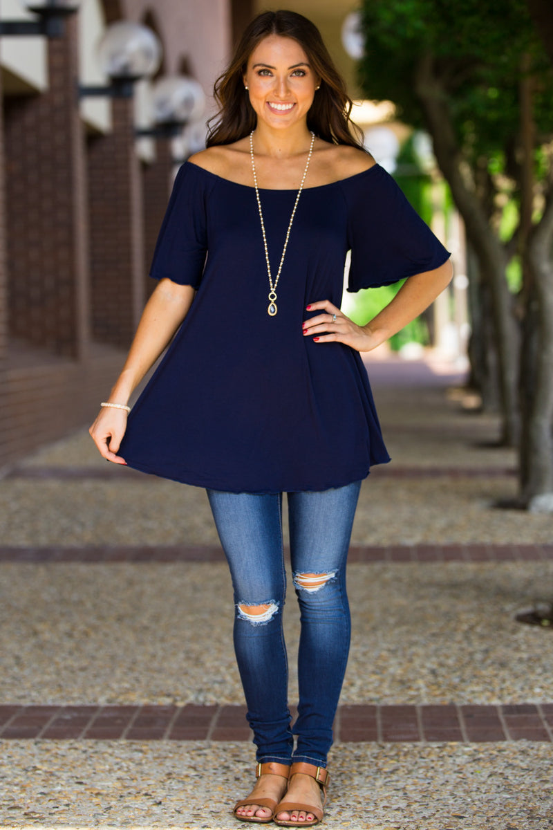 The Perfect Piko Off The Shoulder Top-Navy