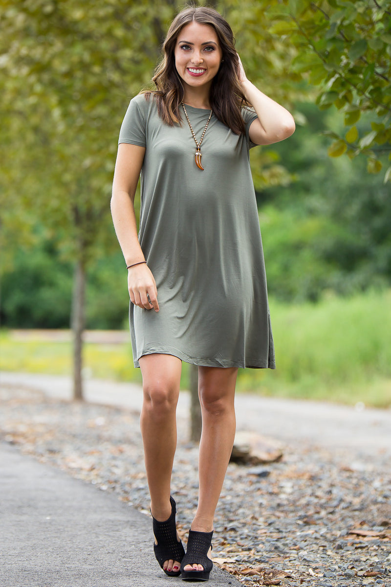 The Perfect Piko Short Sleeve Swing Dress-Army