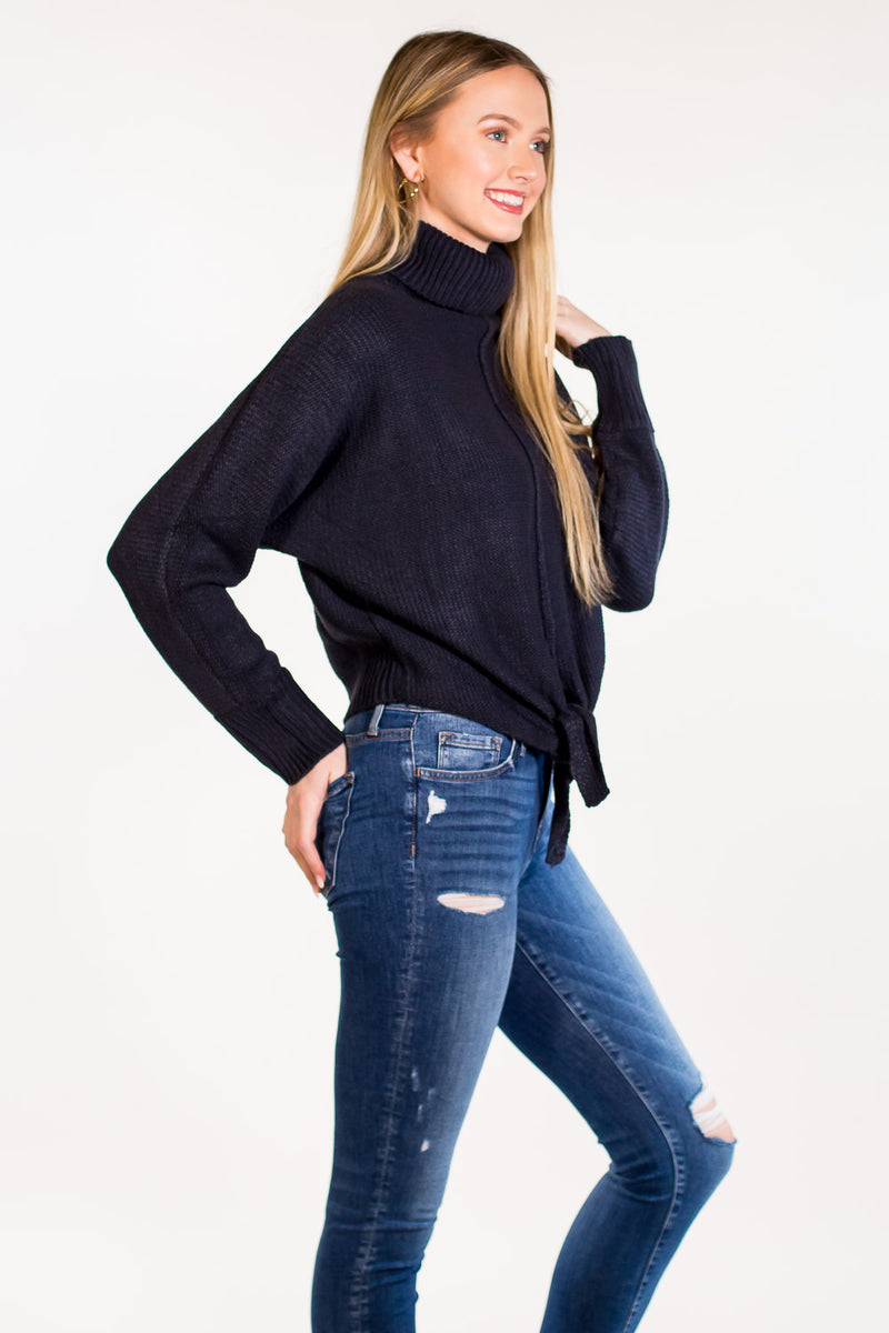 SALE-All Tied Down Sweater - Navy