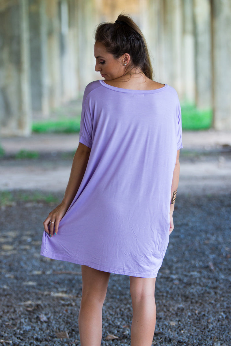 The Perfect Piko Short Sleeve V-Neck Tunic-Lilac