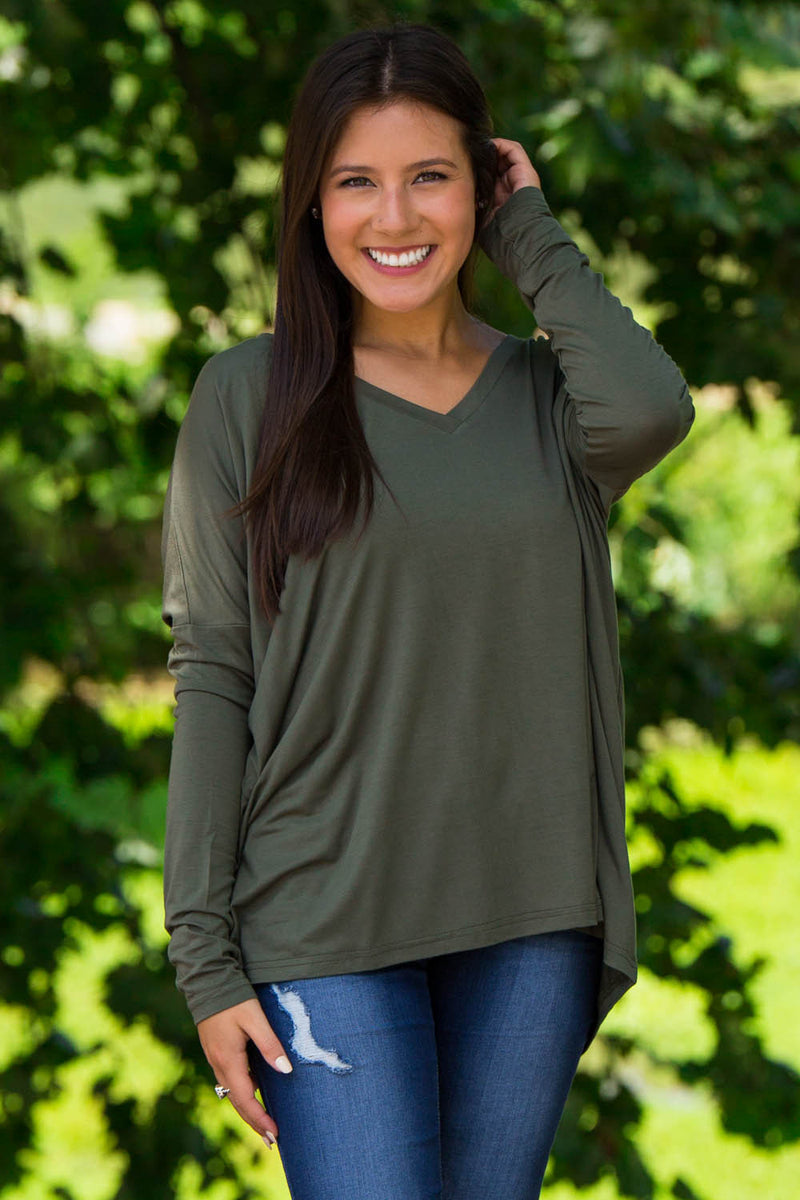The Perfect Piko V-Neck Top-Army