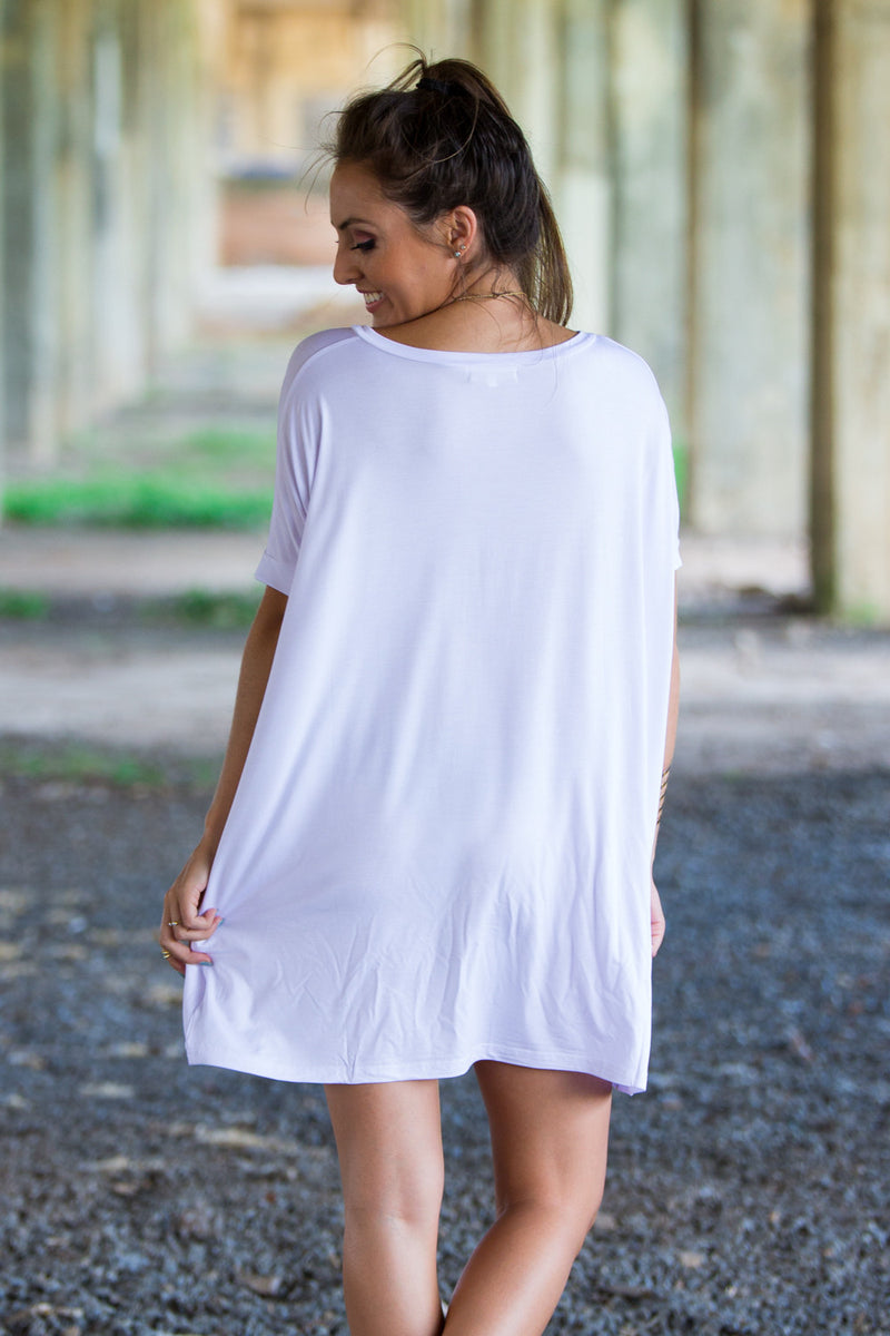 The Perfect Piko Short Sleeve V-Neck Tunic-White