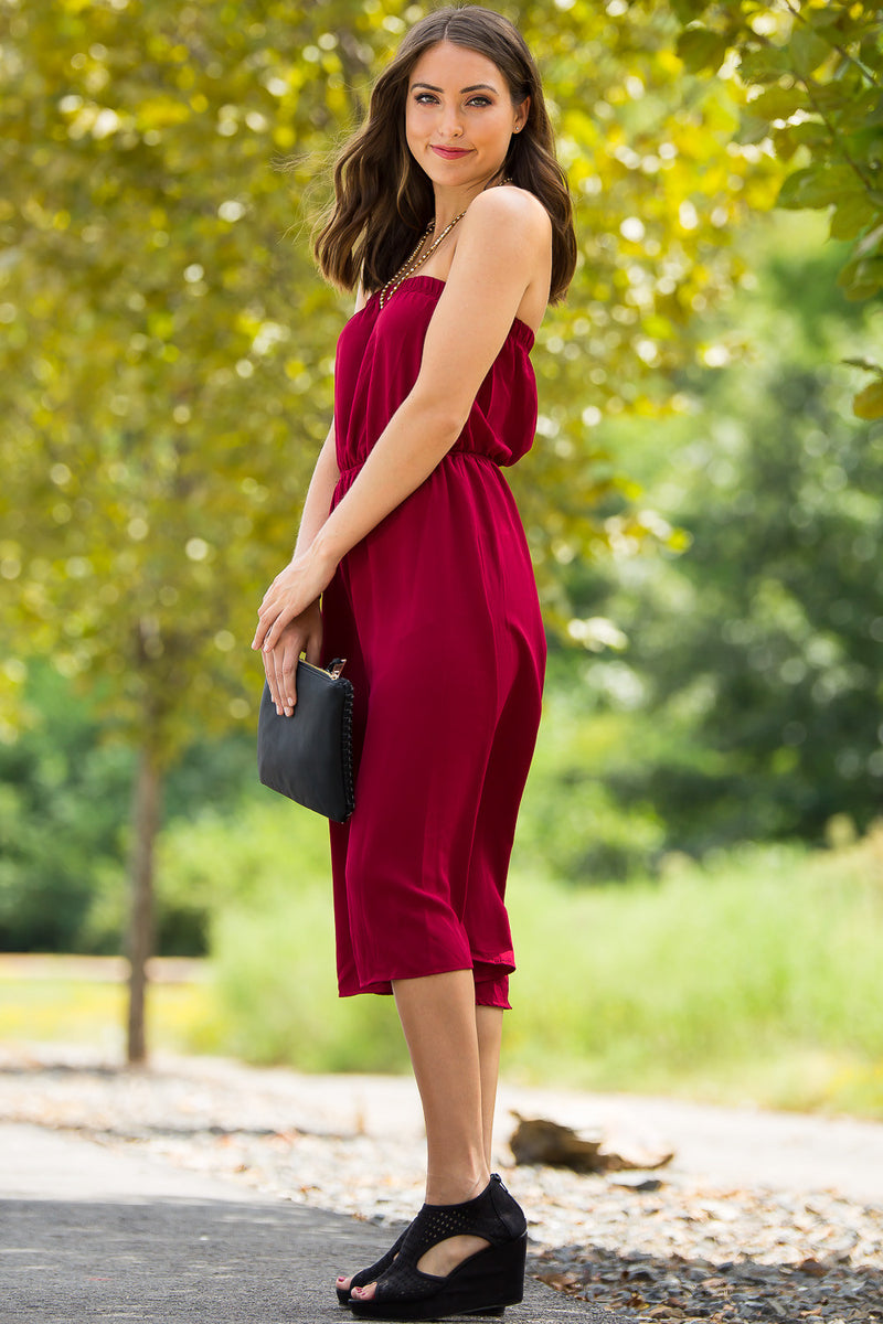 Culottes Of Luck Jumpsuit-Burgundy