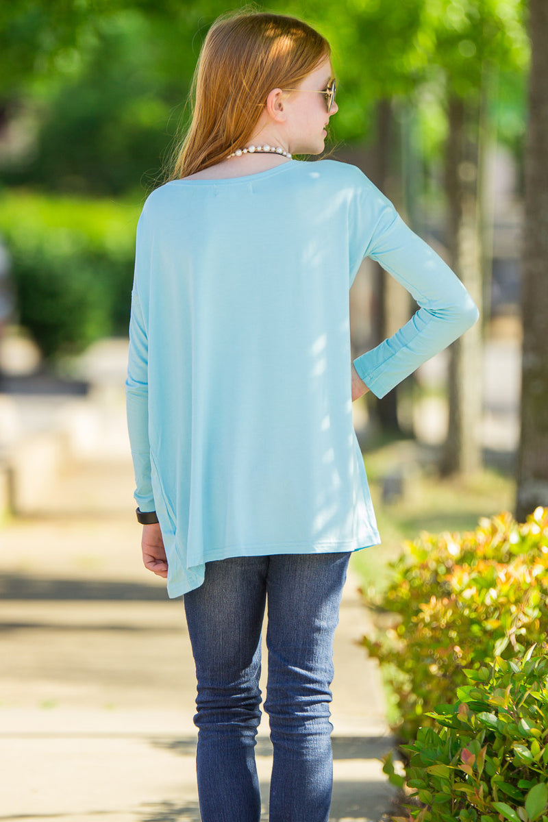 The Perfect Kids Long Sleeve Piko Top-Limpet Shell