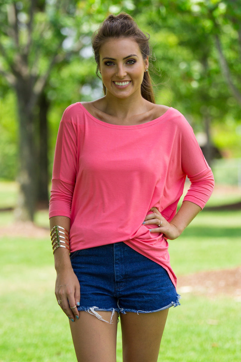 The Perfect Piko 3/4 Sleeve Top-Coral