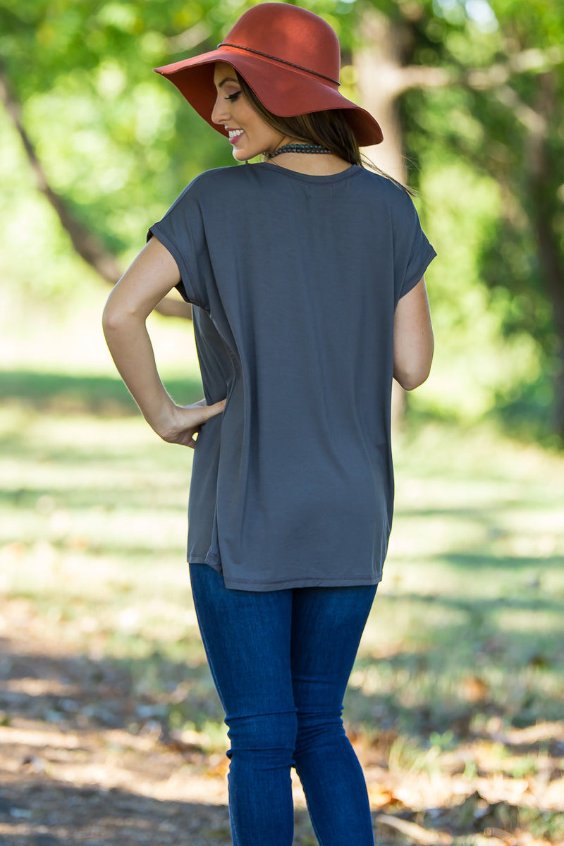 The Perfect Piko Rolled Short Sleeve Top-Dark Grey
