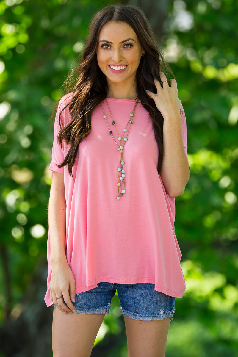 The Perfect Piko Short Sleeve Top-Strawberry Ice