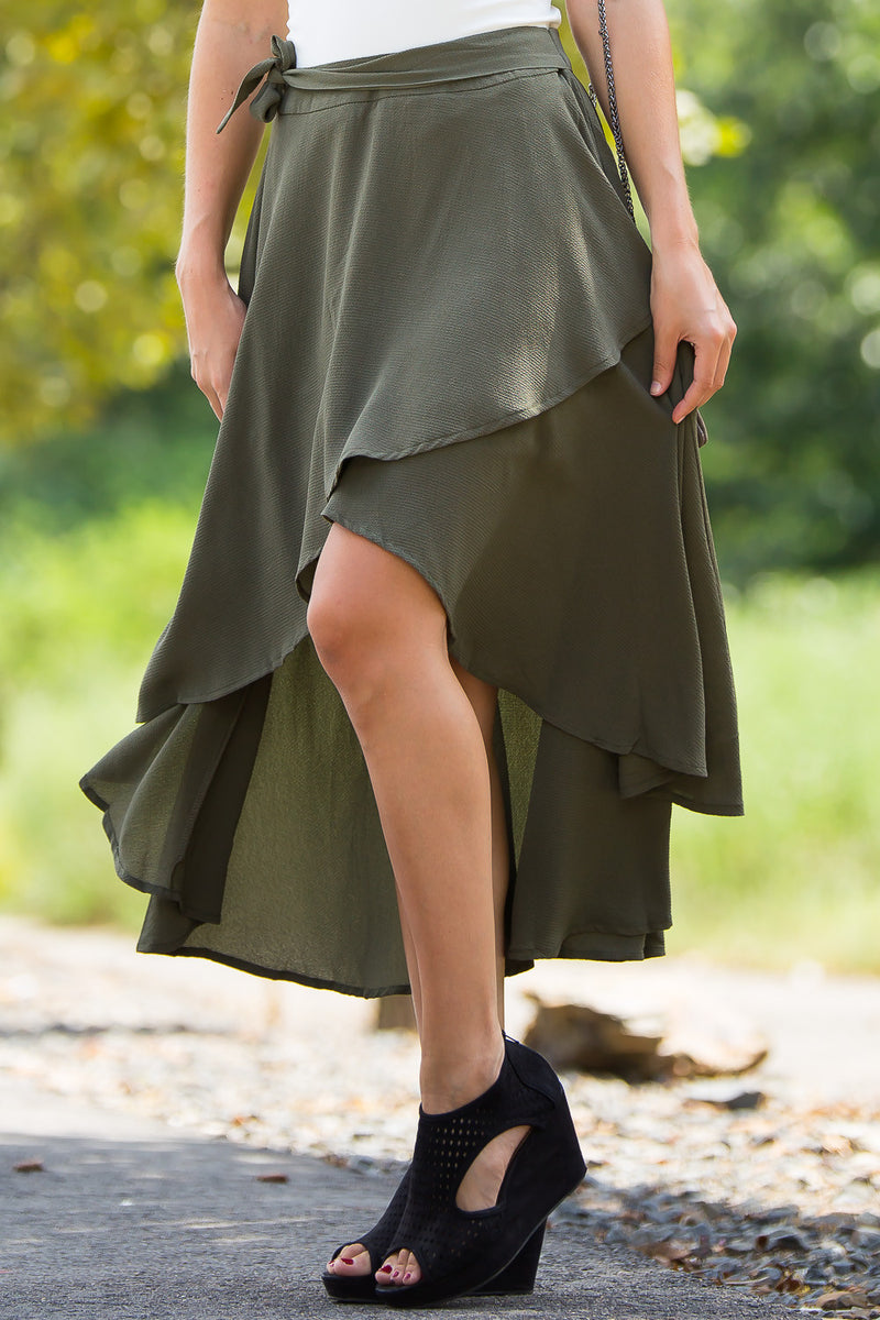 SALE- Under The Waterfall Skirt-Olive