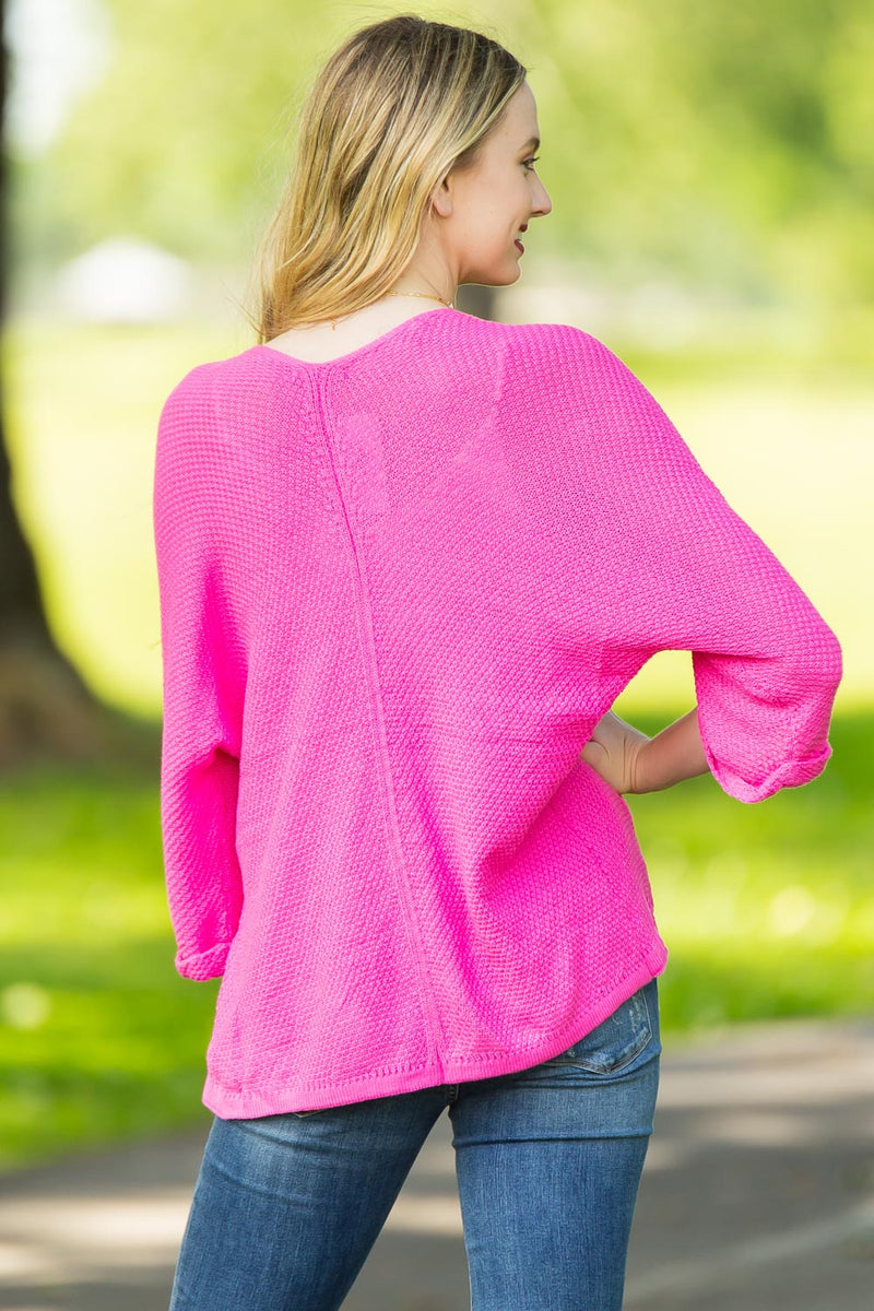 Add Some Color Kimono Cardigan-Hot Pink
