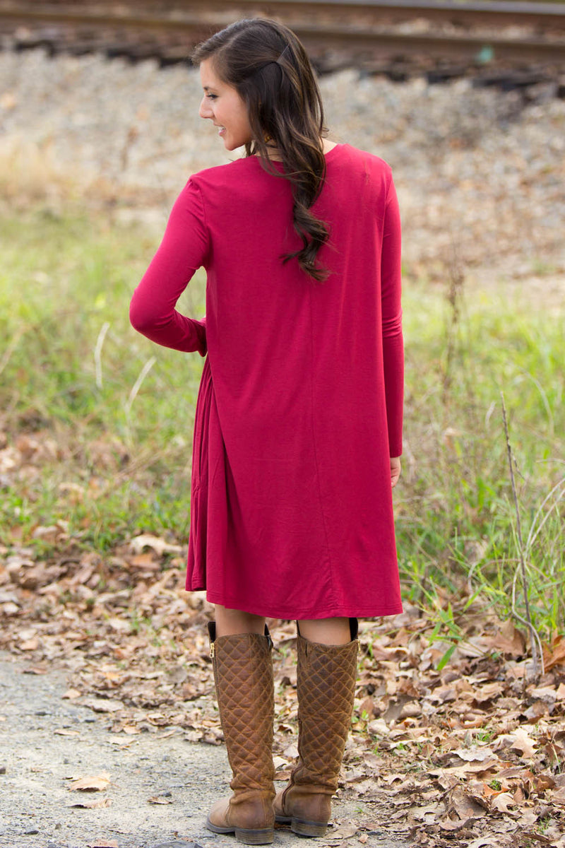 The Perfect Piko Long Sleeve Swing Dress-Wine