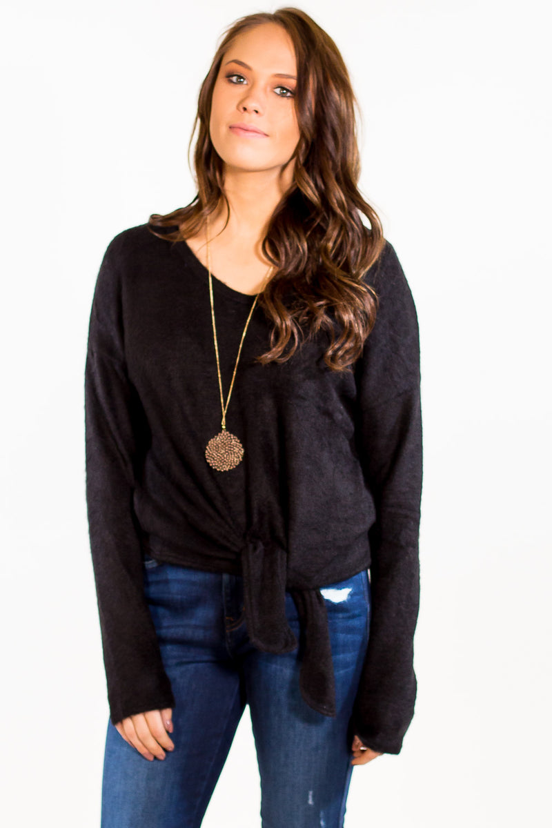 The Perfect Piko Tie Front Mohair Sweater Top-Black