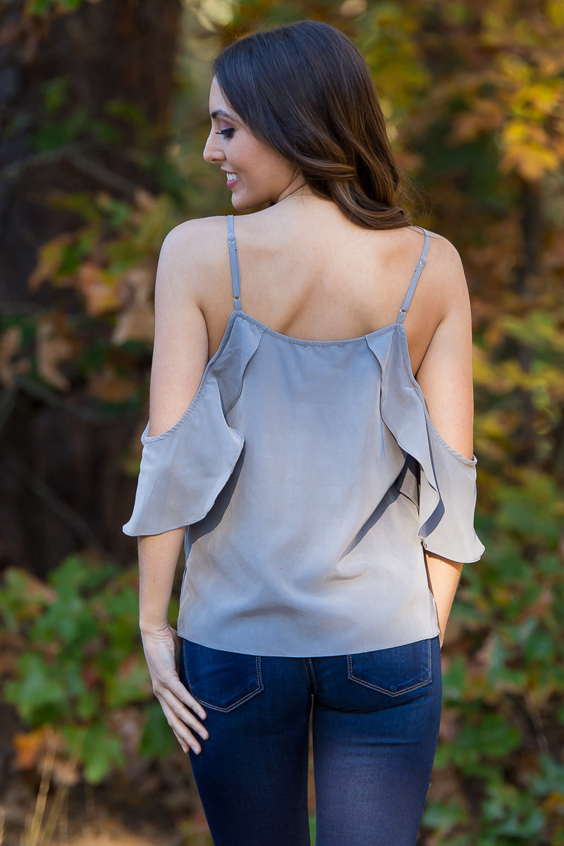 Everly-Ruffle May I Top-Grey
