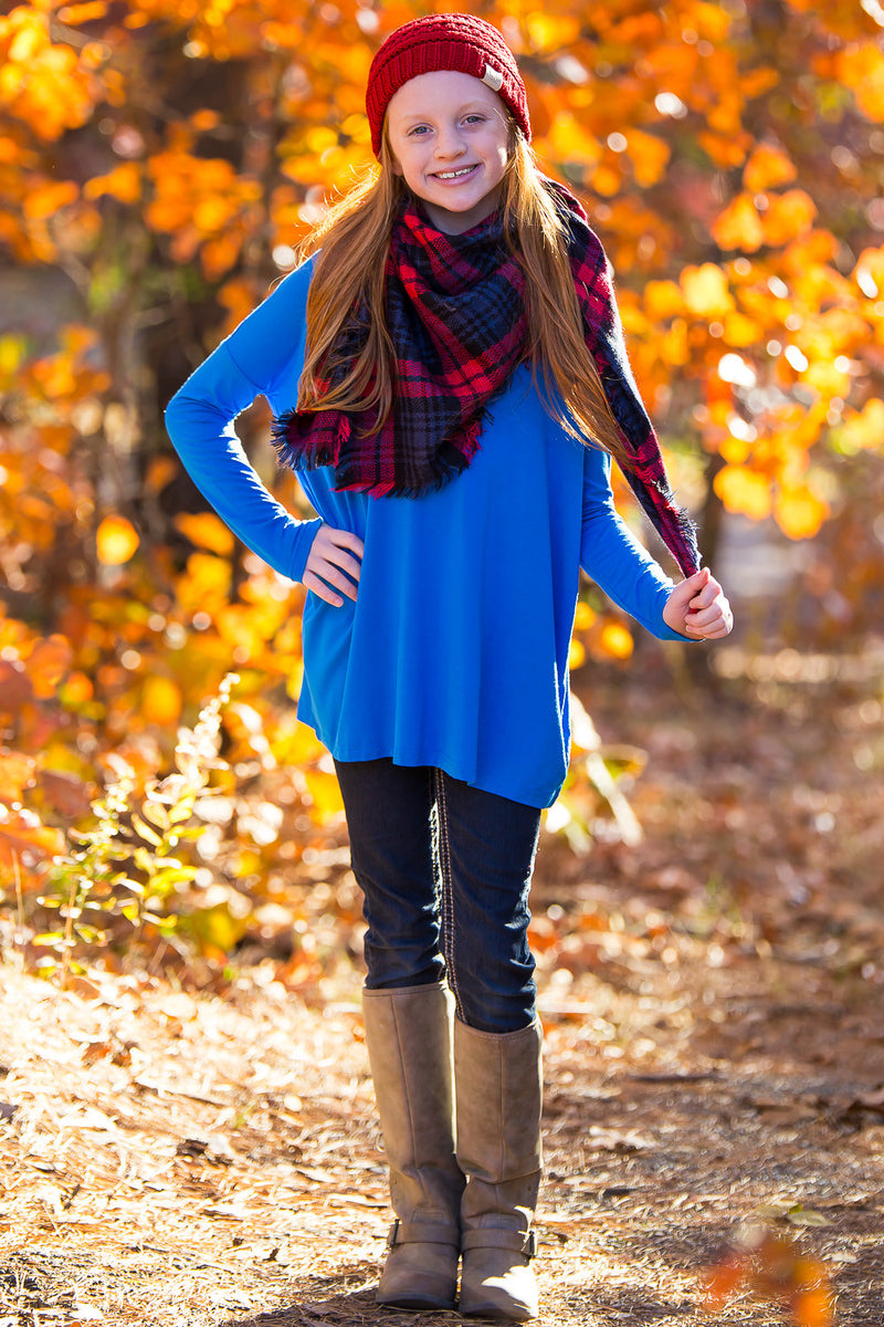 The Perfect Kids Long Sleeve Piko Top-Snorkel Blue