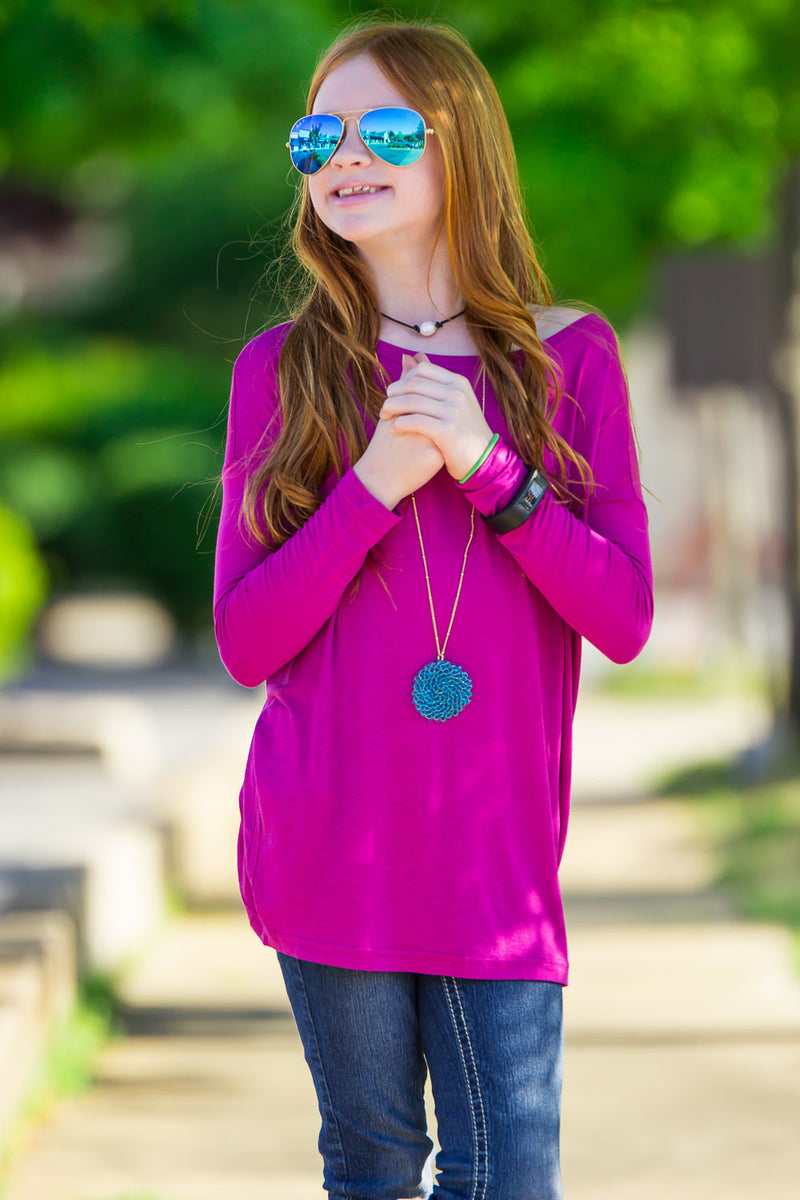 The Perfect Kids Long Sleeve Piko Top-Orchid