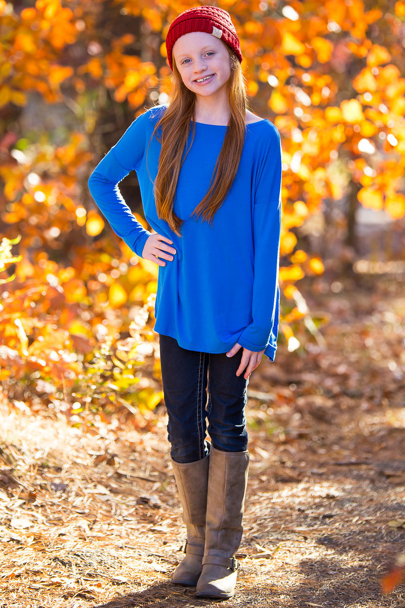 The Perfect Kids Long Sleeve Piko Top-Blue