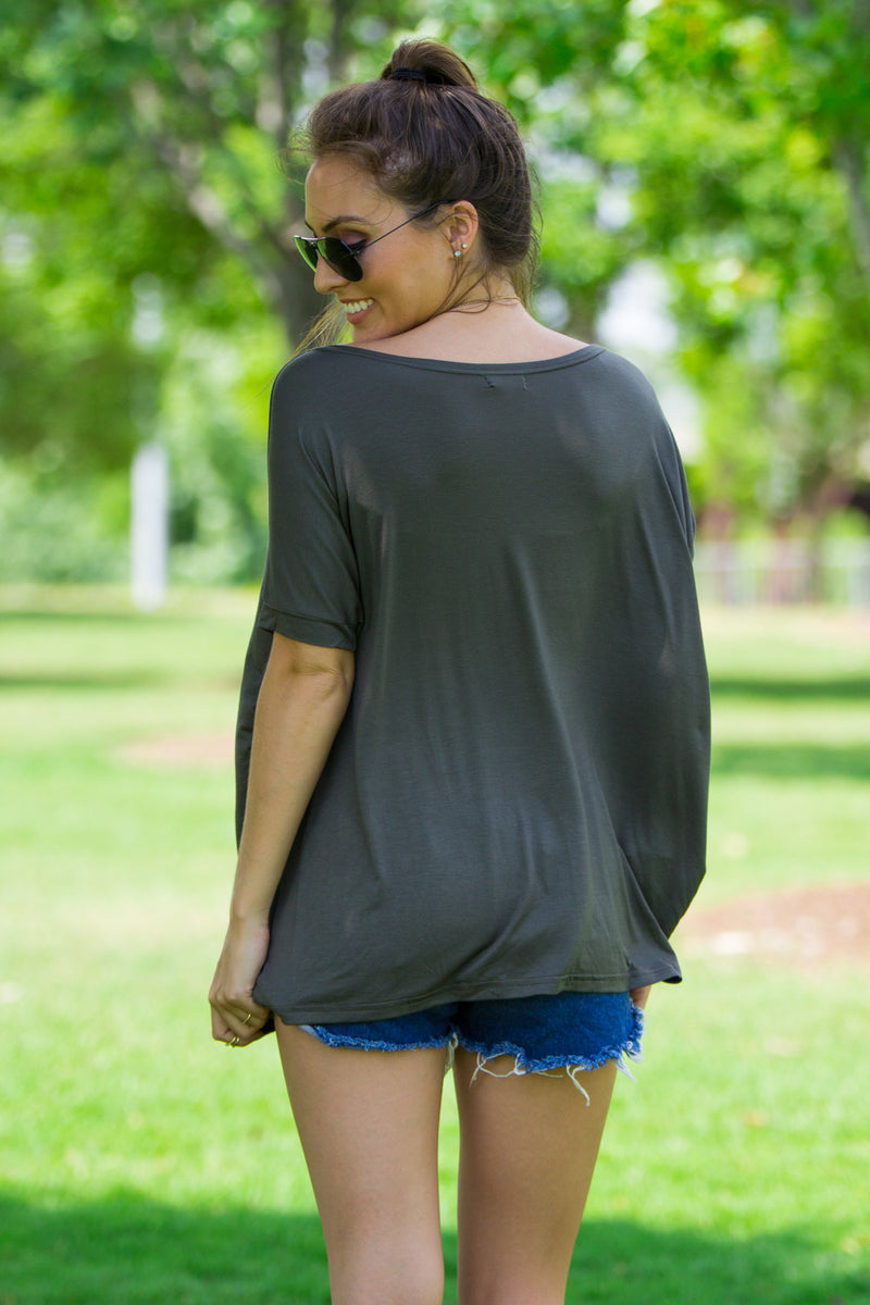 The Perfect Piko Short Sleeve Top-Army