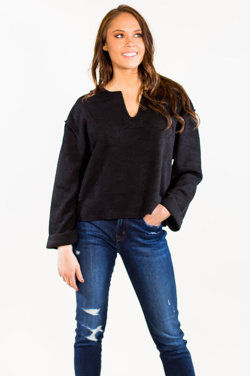 SALE-Throw It On And Go Sweater - Black