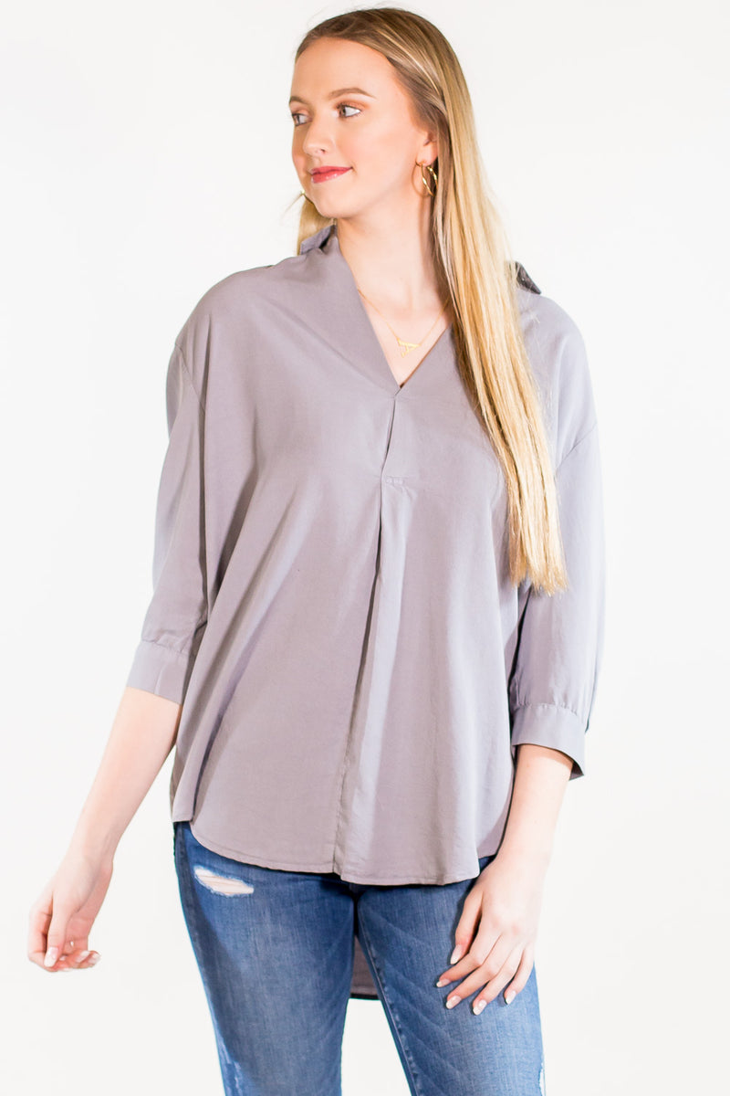 SALE - Boyfriend Collared Top - Grey