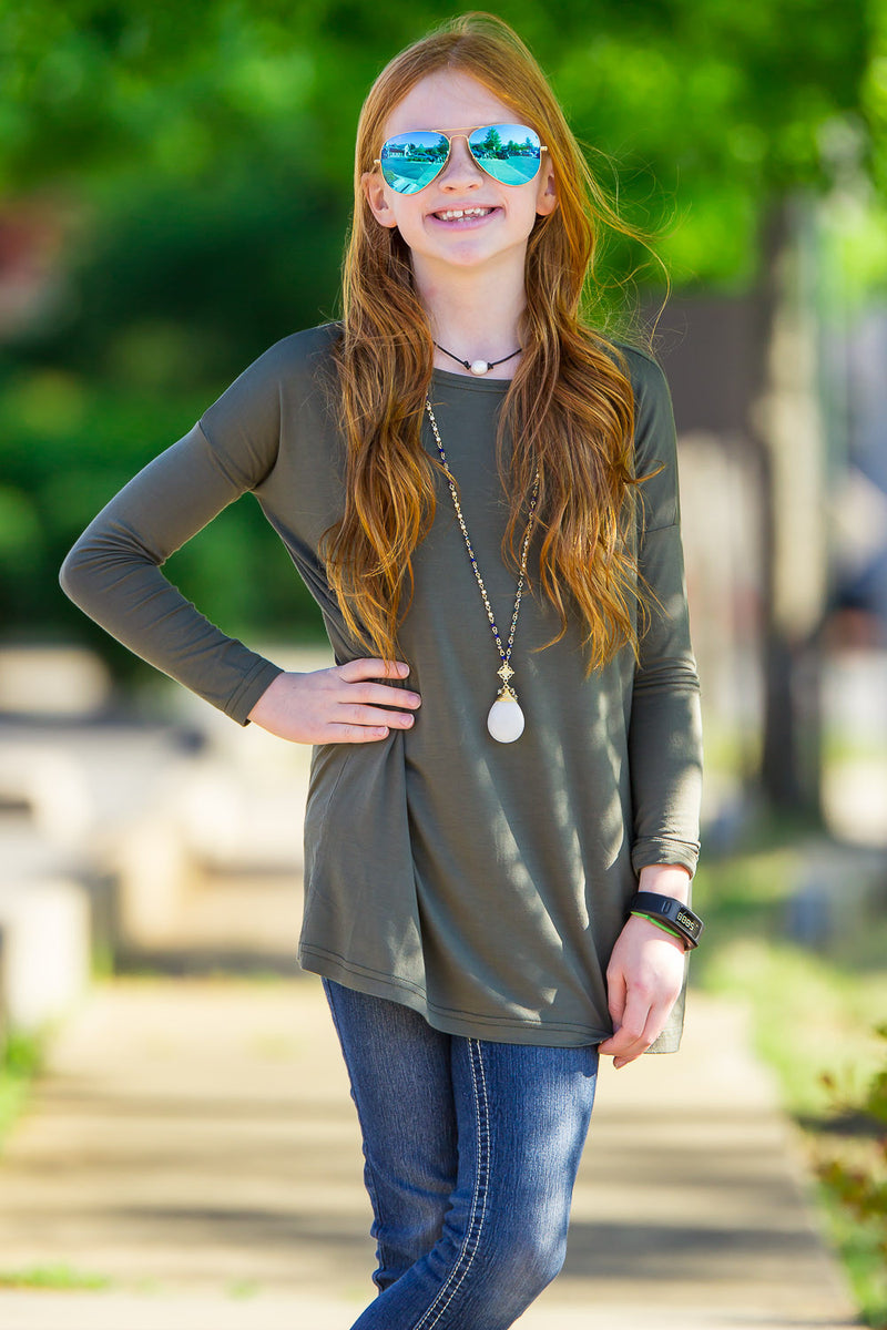 The Perfect Kids Long Sleeve Piko Top-Army