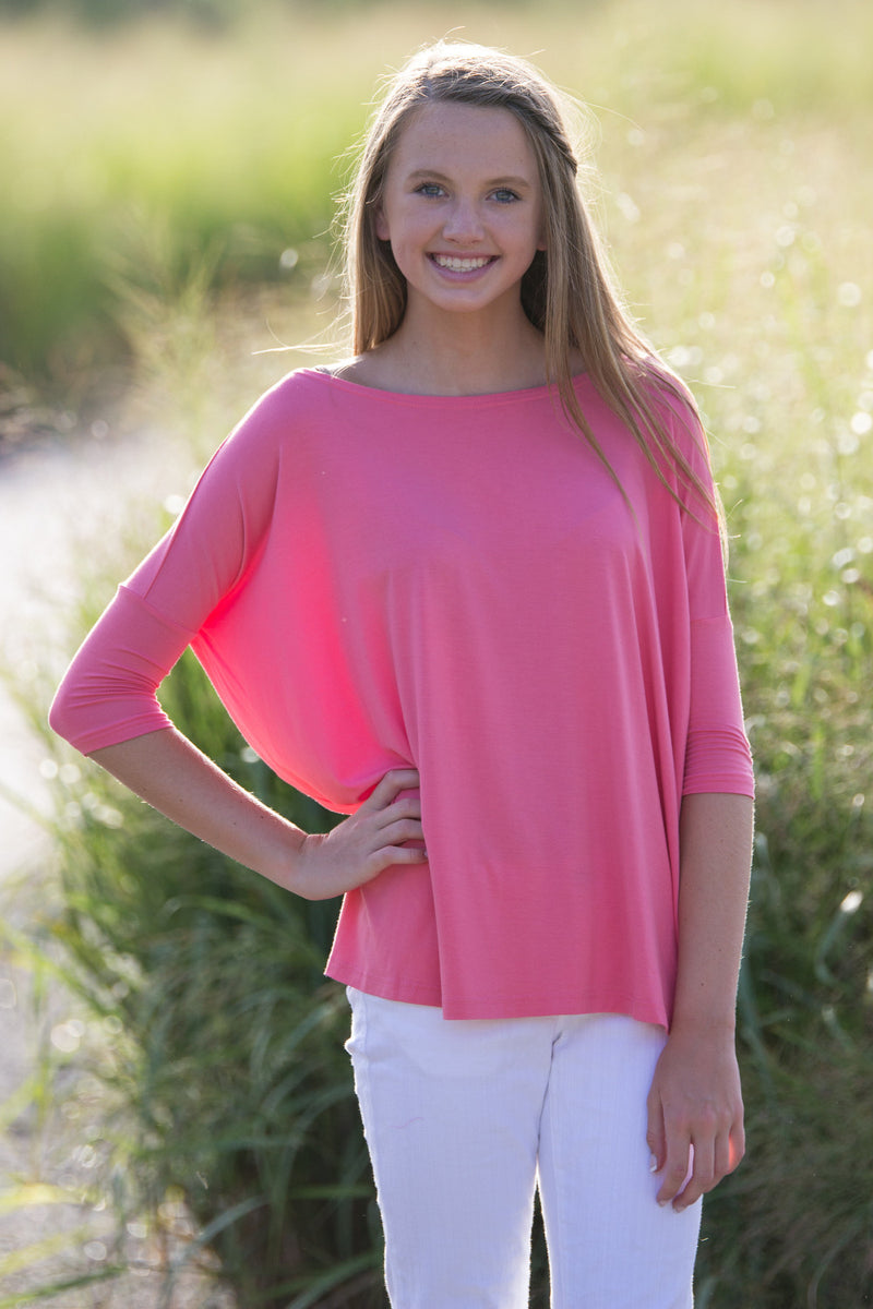 The Perfect Piko 3/4 Sleeve Top-Pink